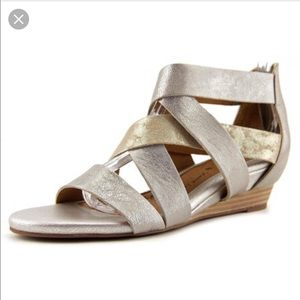 Sofft Rio Open Toe Leather Silver Gladiator Sandal